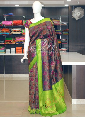 Beautiful Navy Blue Banarasi Soft Silk Saree in Multi Colour Butis