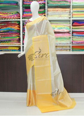 Beautiful Off White and Yellow Banarasi Kora Tanchoi Weave Saree