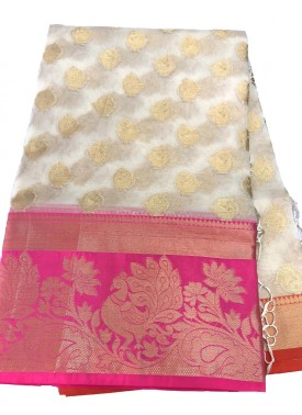 Beautiful Off white Organza Saree in Pink Border