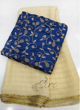 Beautiful Offwhite Fine Chiffon Saree in Zari Checks