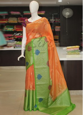 Beautiful Orange Green Banarasi Linen Saree