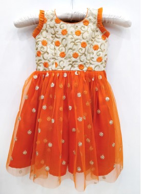 Beautiful Orange Kids Frock for One Year Old