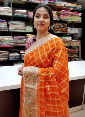 Beautiful Orange Kota Saree in Silver Zari