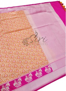 Beautiful Orange Pink Banarasi Silk Saree in Silve