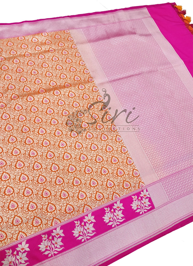 Beautiful Orange Pink Banarasi Silk Saree in Silver Zari