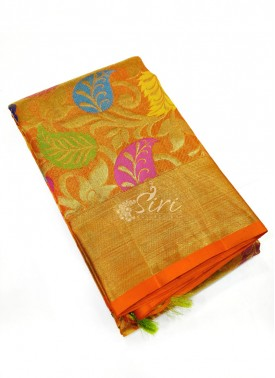 Beautiful Orange Pure Handloom Kanchi Pattu Saree