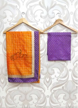 Beautiful Orange Shibori Organza Saree in Banarasi Borders