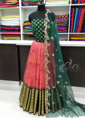 Beautiful Organza Lehenga Fabric with Banarasi Silk Blouse and Cut Work Dupatta