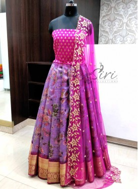 Beautiful Organza Lehenga Fabric with Banarasi Silk Blouse and CutWork Dupatta