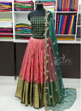 Beautiful Organza Lehenga Fabric with Raw Silk Blouse and Cut Work Dupatta