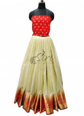 Beautiful Organza Lehenga with Satin Crepe Lining and Raw Silk Blouse Fabric Set