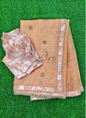 Beautiful Organza Saree in Mirror Work Butis with Puff Sleeves Blouse