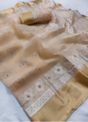 Beautiful Organza Saree in Pastel Shade and Foil Print