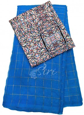 Beautiful Organza Saree in Self Zari Checks With Digital Print Blouse
