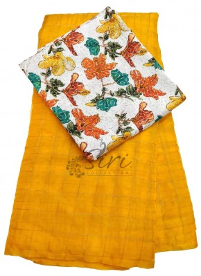Beautiful Organza Saree in Self Zari Checks With Printed Blouse