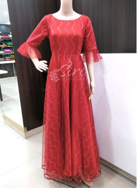 Beautiful Party Wear Dark Deep Red Long Frock Gown
