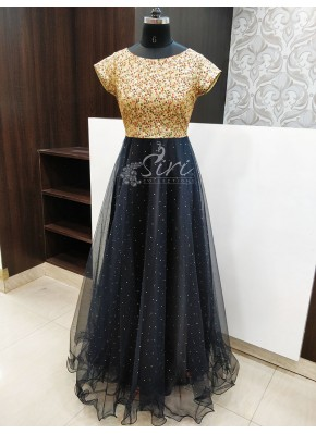 Beautiful Party Wear Multi Sequins Work and Stone Work on Black Net  Long Frock
