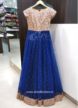 Beautiful Party Wear Multi Sequins Work Dark Blue Long Frock