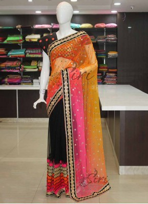Beautiful Patli Pallu Designer Saree In Black and Multi Colour Net