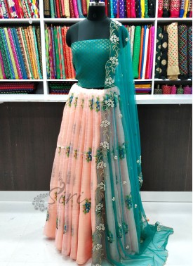 Beautiful Peach Organza Lehenga and Jacquard Blouse Fabric Lehenga Set with CutWork Dupatta