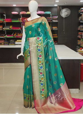Beautiful Peacock Green Blue Banarasi Silk Saree in Paithani Style