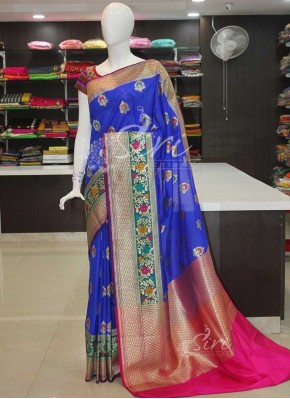 Beautiful Peacock Royal Blue Banarasi Silk Saree in Paithani Style