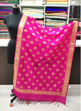 Beautiful Pink Banarasi Silk Dupatta