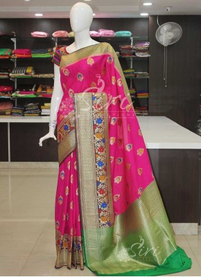 Beautiful Pink Banarasi Silk Saree in Paithani Style