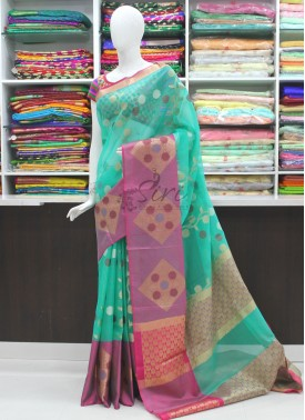 Beautiful Pink Organza Saree in Self Checks