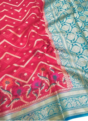 Beautiful Pinkish Red Blue Pure Banarasi Georgette Saree