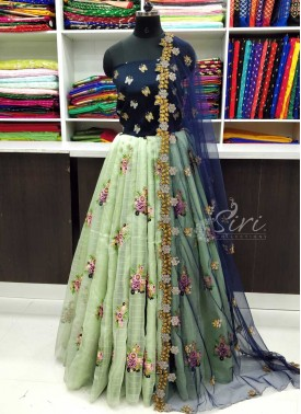 Beautiful Pista Green Organza Lehenga and Raw Silk Blouse Fabric Lehenga Set