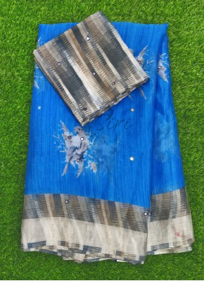 Beautiful Printed Soft Jute Saree in Mirror Work