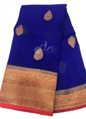 Beautiful Pure Banarasi Kora Handloom Silk Saree in Allover Buti Design with Contrast Border