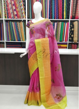Beautiful Pure Banarasi Linen Saree in Embroidery Work