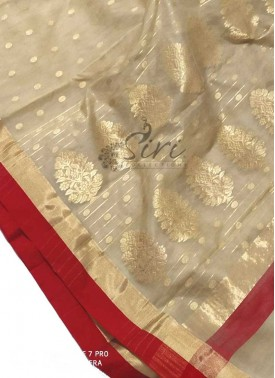 Beautiful Pure Chanderi Kora Silk Saree