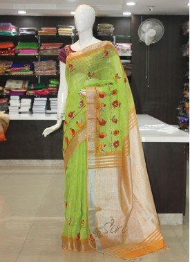 Beautiful Pure Linen Saree in Birds Design Embroidery Work