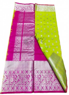 Beautiful Pure Venkatagiri Pattu Silk Saree in Lemon Green