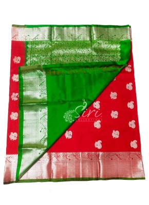 Beautiful Pure Venkatagiri Pattu Silk Saree in Red and Green