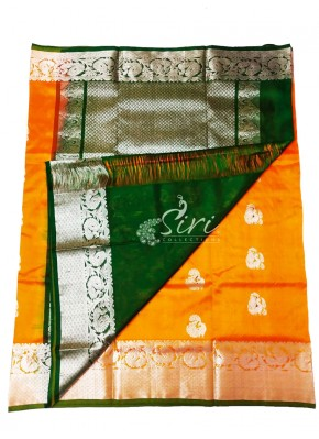 Beautiful Pure Venkatagiri Pattu Silk Saree Orange and Dark Green