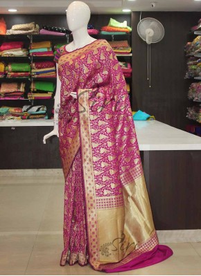 Beautiful Purple Banarasi Silk Saree