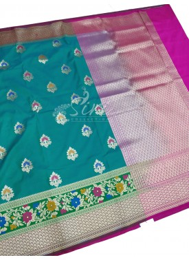 Beautiful Rama Green Banarasi Silk Saree in Paitha
