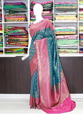 Beautiful RamaBlue and Rani Pink Banarasi Silk Saree
