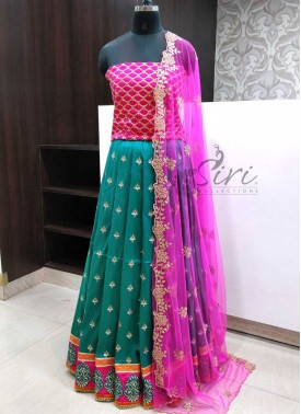 Beautiful Raw Silk Lehenga Fabric with Raw Silk Bl