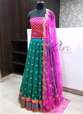 Beautiful Raw Silk Lehenga Fabric with Raw Silk Blouse and Cut Work Dupatta