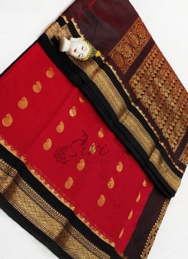 Beautiful Red and Black Cotton Silk Saree