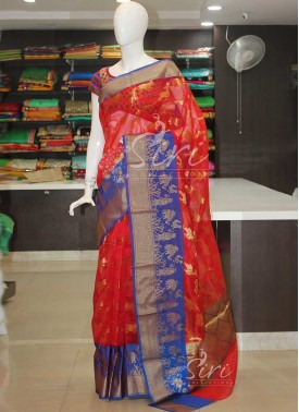 Royal Red Banarasi Kora Saree With Blue Border