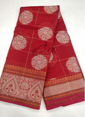 Beautiful Red Chanderi Saree