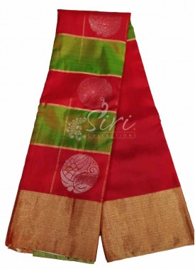 Beautiful Red Green Pure Handloom Designer Soft Silk Saree