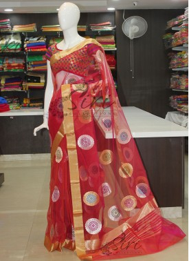 Beautiful Red Pink Double Shade Pure Banarasi Handloom Net Saree