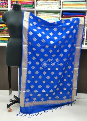 Beautiful Royal Blue Banarasi Silk Dupatta